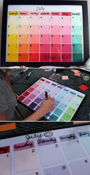 Easy DIY Project and Crafts for Teen Bedroom | Paint Chip Calendar by DIY Ready at http://diyready.com/diy-projects-for-teens-bedroom/:
