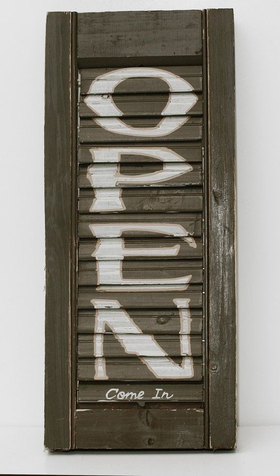 Fun Kitschy Crafted Open/Closed Shutter Sign by AnnaOliveDesigns