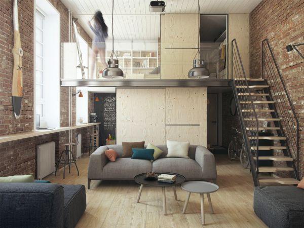 Aménagement d'un petit appartement, table basse minimaliste.                                                                                                                                                     Plus