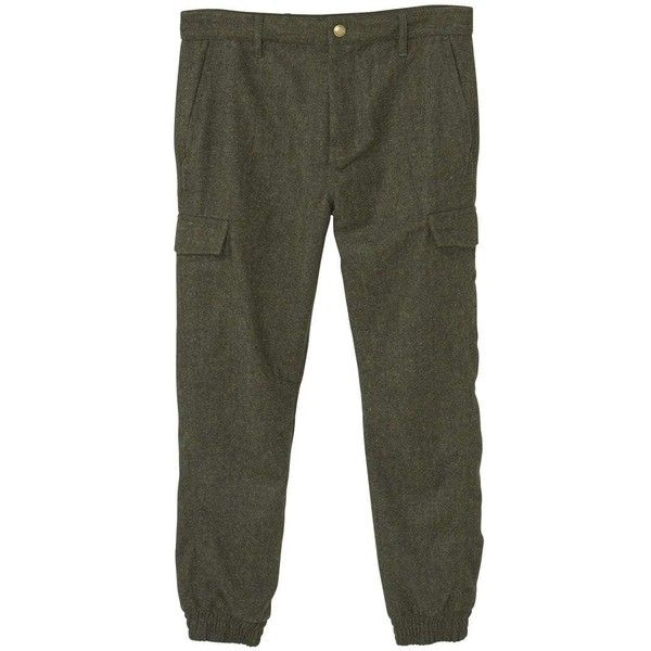 Wool-Blend Cargo Trousers (235 AED) ❤ liked on Polyvore featuring pants, cargo pants, zipper trousers, zip cargo pants, mango trousers and zipper pocket cargo pants