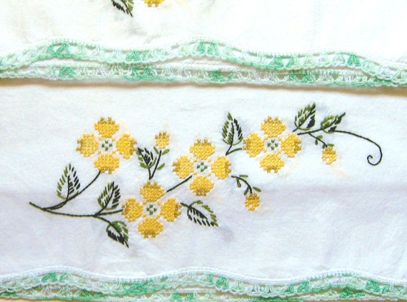 2 Vintage Pillowcases Hand Embroidered Set of 2 by WhatGirlsLike, $6.50