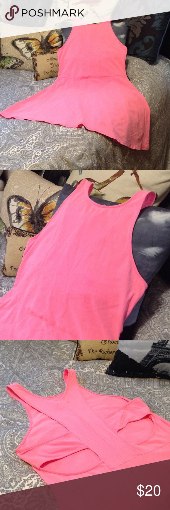 🌺🐚 Hot Pink Cutout Skater Dress🐚🌺 BRAND NEW! Super Cute Jersey Knit Skater Dress. Tank Top T-back Style with Cut Out Back. Hot Pink! Has Stretch...Cute with Sandals, over a Swimsuit, etc. American Eagle Outfitters Size Large American Eagle Outfitters Dresses