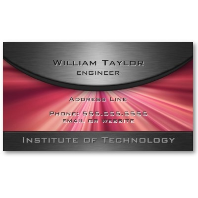 Metallic Elegance with magenta rays and QR code on back. Business Card Template. $20.10 per pack of 100 #elegant #business #card #metallic #modern #magenta #rays