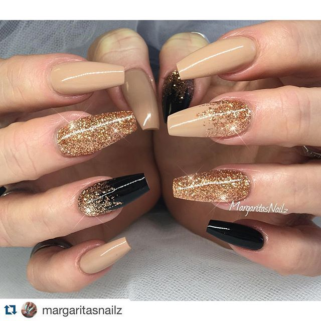 Nude and black and gold nails!!
