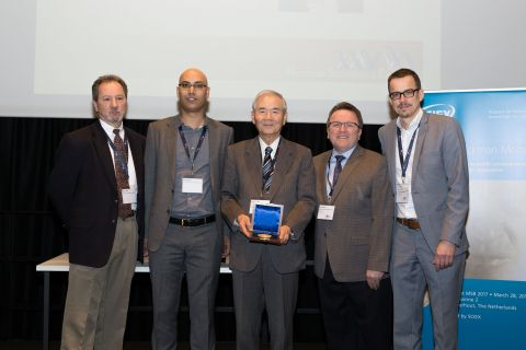 """[caption id=""""attachment_2350"""" align=""""alignleft"""" width=""""300""""] Left to right: Professor James Landers, Chairman MSB Strategic Planning Committee, Dr. Rawi Ramautar, Leiden University, Netherlands, Dr. Shigeru Terabe – recipient, Jeff Chapman, Senior Director, at SCIEX, Dr. Govert Somsen, Vrije University, Netherlands[/caption] SCIEX, a global leader in life science analytical technologies, has announced that the MSB Strategic Planning Committee…..."""