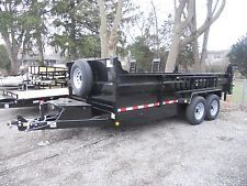 "BRAND NEW 2018 83"" X 16' DUMP TRAILER 14000# G.V.W.R. RAMPS D-RINGS 3 WAY GATEheavy equipment trailers apply now www.bncfin.com/apply"