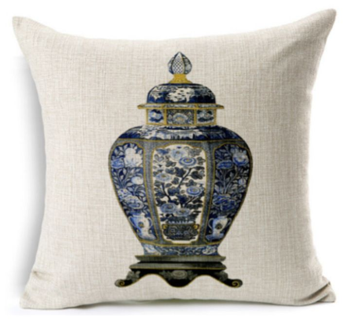 Ginger Jar Linen Cushion CoverChinoiserie chic! These spectacular cushions feature a classic blue and white ginger jar print on linen. The soft colour palette creates simple but bold impact to add a huge dose of style and texture to any home decor!-Size: 45cms x 45cms-Material: 100% Cotton (Linen)-Concealed size zipper-Origin: Imported-Gentle hand wash-Inserts are not included