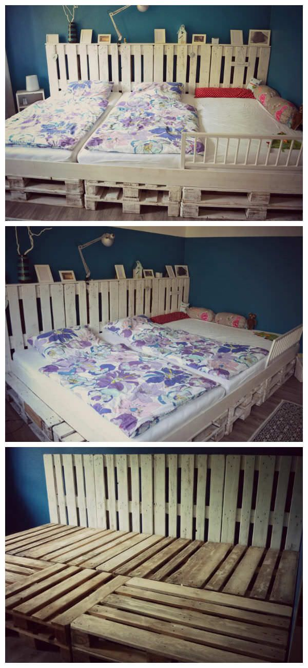 Family Bed Made Of Recycled EURO Pallets #DIY, #PalletBed, #RecycledPallet