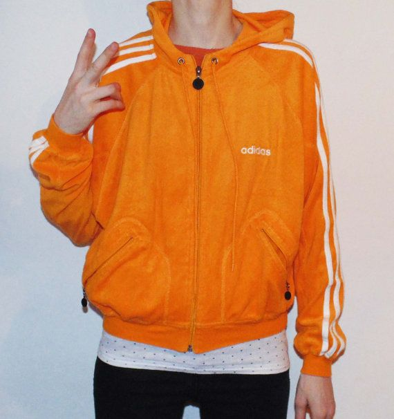 ADIDAS retro 80s polar pumpkin yellow / mustard zip up by SunnyCsc
