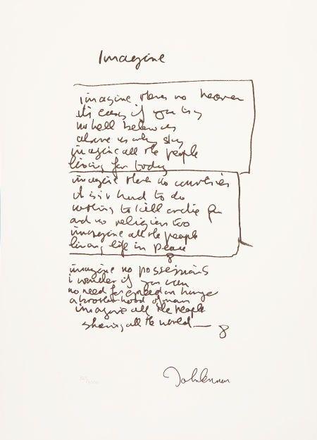 "46428: Beatles-Related - John Lennon ""Imagine"" Lyrics L : Lot 46428"