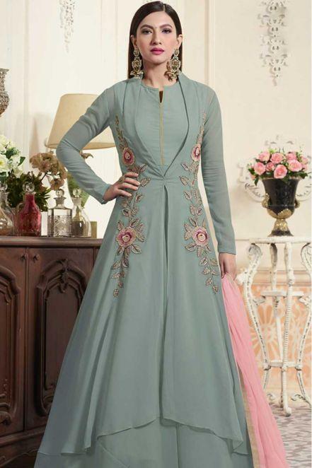 7cea6adb752f Designer Georgette Bollywood Gown In Grey