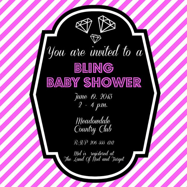 bling baby shower invite