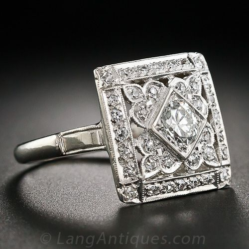 Square Art Deco Diamond Cocktail Ring - 10-1-5345 - Lang Antiques