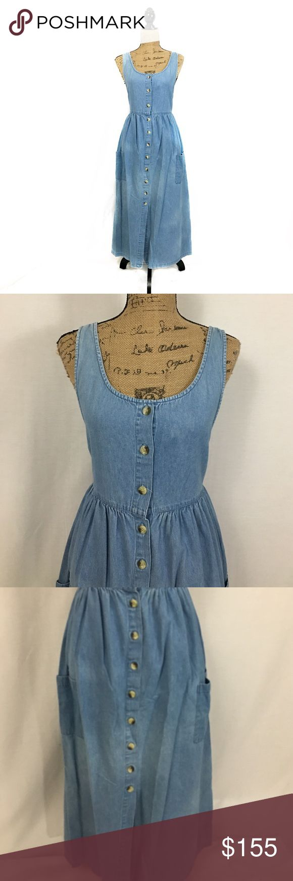 Boho Coachella denim midi dress Amazing denim midi dress. Button down in the front. Tie in the back to get he fit just right. Size small. Approx length 47 inches. Bust 18 inches approx. waist 16.5 inches untied approx. hips free. 2 pockets. All buttons intact. Denim has lightening in spots which is how it was made overall variations in color of the denim are to be expected. Dresses Midi