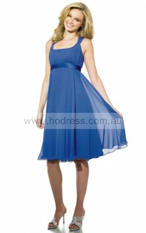 Sleeveless Zipper Square Knee-length Chiffon Formal Dresses d130604243--Hodress