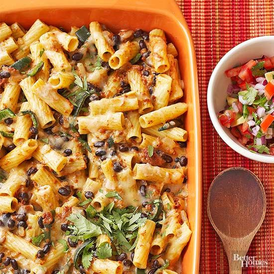 Spice up your Tuesday night dinner with this Mexican casserole recipe. Brimming with black beans, chorizo sausage, and cheesy pasta, this mac 'n' cheese makeover takes just 30 minutes of prep. /
