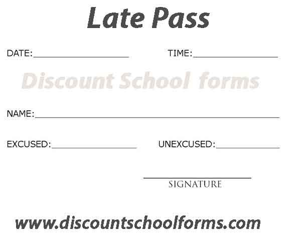 126 best Late Pass images on Pinterest Schools, We and Booklet - free pass template