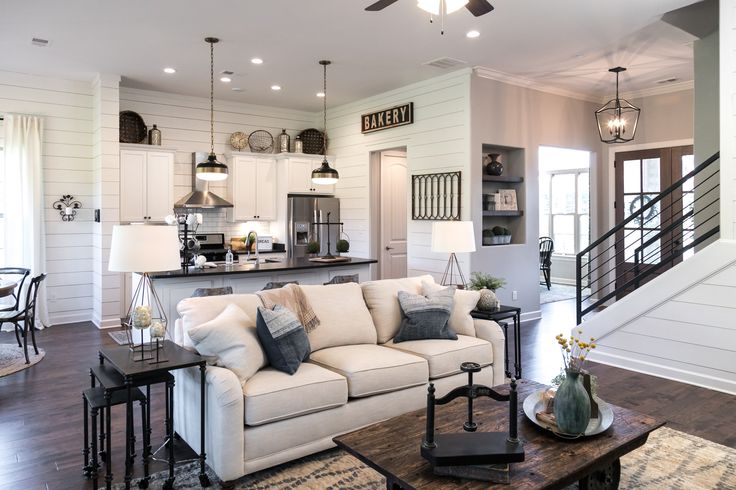 Regency Homebuilders : Great Room, Farmhouse Style, Scraped Hardwood, Open Concept Living, Granite, Recessed Lighting, Brick Fireplace, Shiplap, Fixer Upper (Cross Creek- Abbington Plan)