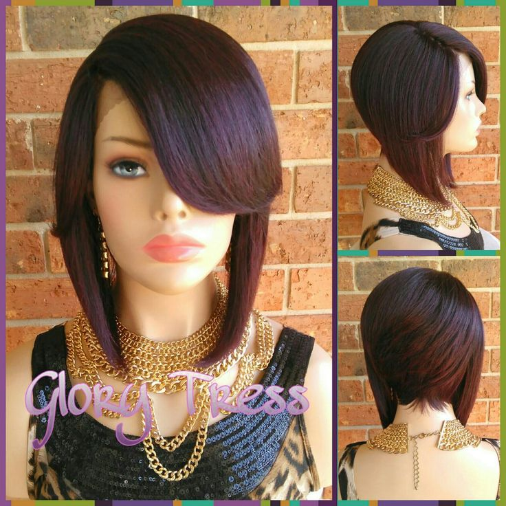 ON SALE // Short & Chic Layered Bob Lace Front Wig, Dark Cherry Wig, Razor Cut Bob With Bangs // SPECIAL (Free Shipping)