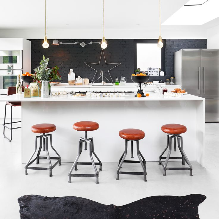 Industrial style white Christmas kitchen