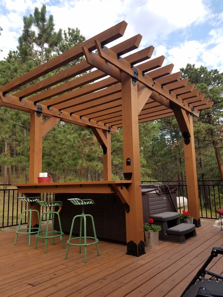 It's perfect weather for a dip in the hot tub! Richelle in South Dakota built an #OWTstanding pergola with attached bar over her hot tub with help from OZCO!