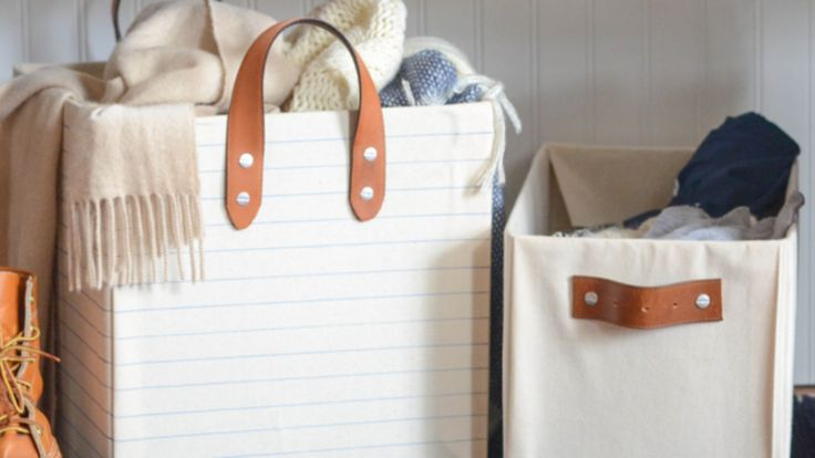 DIY storage bins: boxes + fabric + an old belt for the handle (optional)