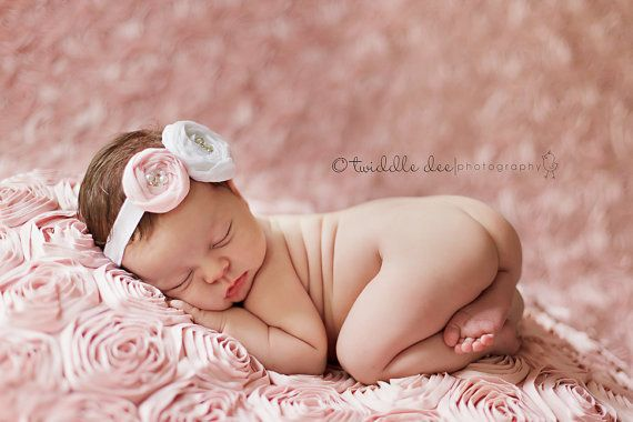 Isn't this the most adorable thing you have ever seen?????    Baby Headband White and Light Pink Handmade by LittleLovesDesigns, $13.95