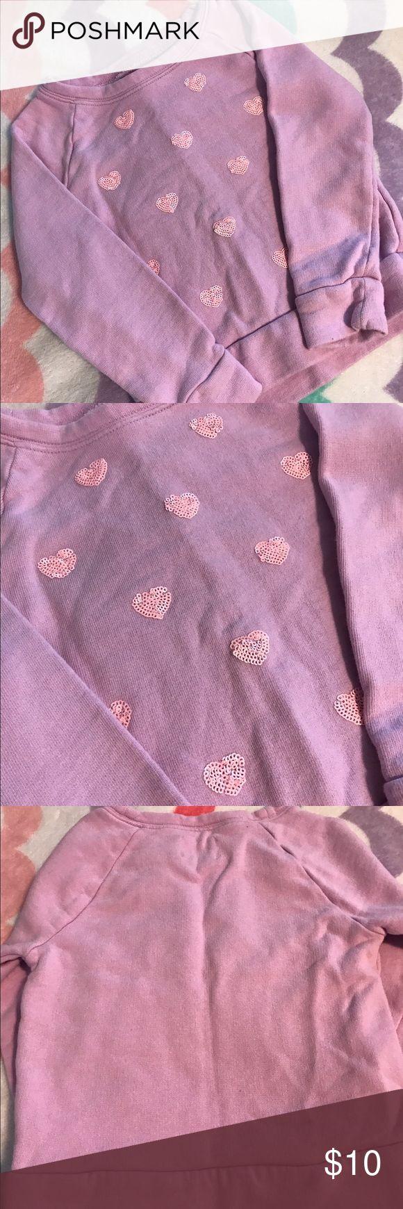 Crew Cuts Sweatshirt 4t Pink sweatshirt with sequins hearts. Excellent used condition. J. Crew Shirts & Tops Sweatshirts & Hoodies