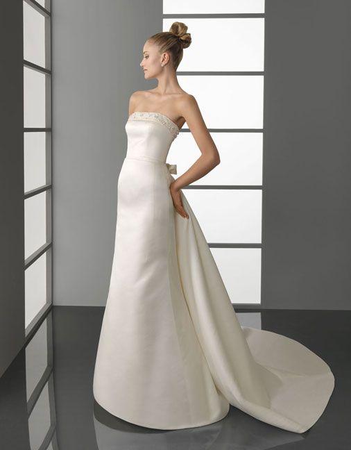 Gorgeous strapless sheath / column chapel train bridal gowns: Wedding Dressses, Wedding Dresses, Satin, Weddings, Dress Wedding, Panel Train, Trains
