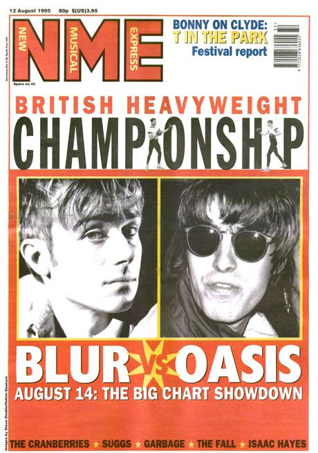 The music cover: tocaba posicionarse.  NME covers – Blur v Oasis: 12 August 1995
