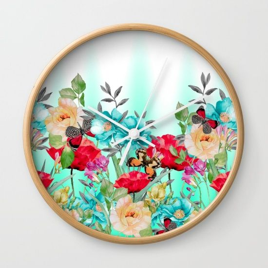 """Available in natural wood, black or white frames, our 10"""" diameter unique Wall… #flowers #art #butterflies #homedecor"""