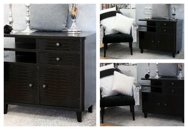 Salo Designista löydät myös uuden ilmeen saaneita vanhoja huonekaluja, kuten myös tämän vanhan 50-luvun lipaston, joka sai uuden ilmeen Designers Guildin nahkajäljitelmä kankaalla, mustalla maalilla sekä uusilla vetimillä.