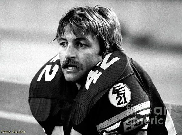 Sideline photograph taken of Edmonton Eskimos middle linebacker Dan Kepley #42. Game against the Hamilton Ti-Cats, 1981.