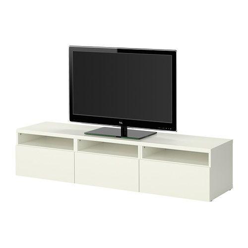 IKEA - BESTÅ, Combinação móvel TV, branco, , Com gavetas que deslizam suavemente e com travão para se manterem no lugar.Gavetas próprias para arrumar artigos pequenos, para uma melhor organização do conteúdo.As prateleiras são reguláveis para que possa personalizar a arrumação de acordo com as suas necessidades.Pés reguláveis para uma maior estabilidade mesmo em superfícies irregulares.125
