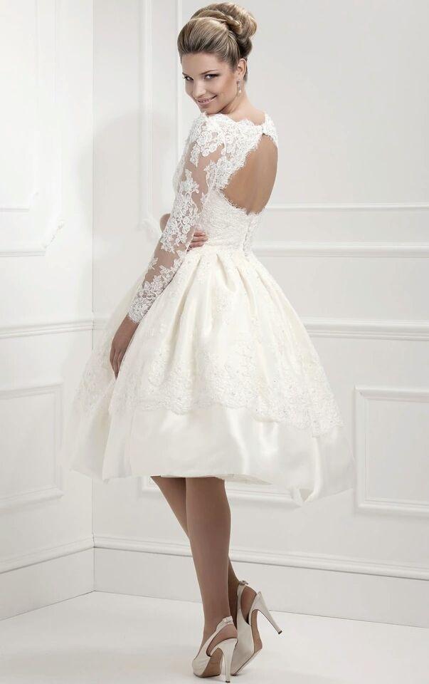 Suknia Slubna Sukienka Krotka Retro Cywilny 6686580034 Oficjalne Archiwum Allegro Short Lace Wedding Dress Long Sleeve Wedding Dress Lace Knee Length Wedding Dress