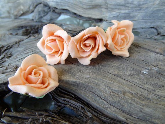 Orange Rose Wedding Hair Pins, Orange Bridal Hair Pins, Flower Girl Hair Accessories, Bridesmaid Hair, Garden Wedding, Woodland - Set of 4 - Amazing Flowers