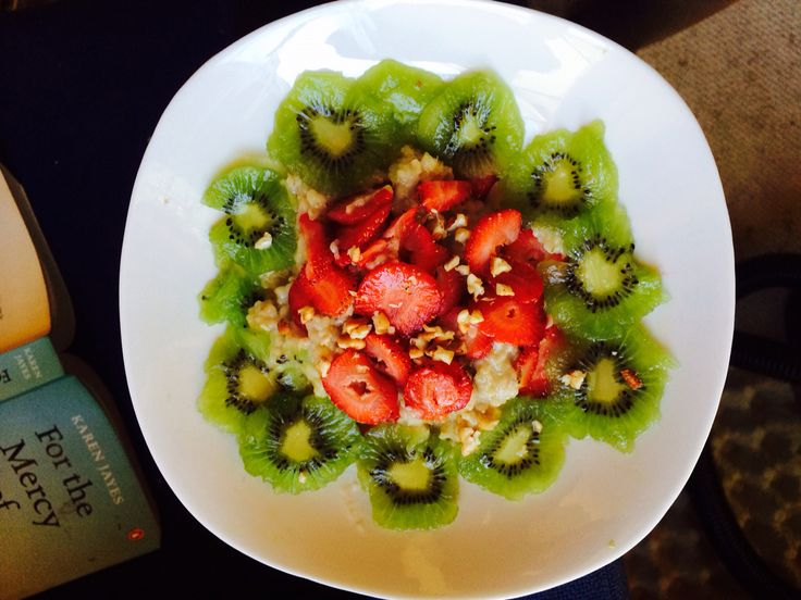 Oats  Ingredients  Kiwi fruit Walnuts Strawberries Honey  Enjoy.