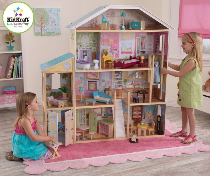 Kidkraft Dollhouse Majestic Mansion Wood Doll House with Furniture by Kidcraft #KidKraft