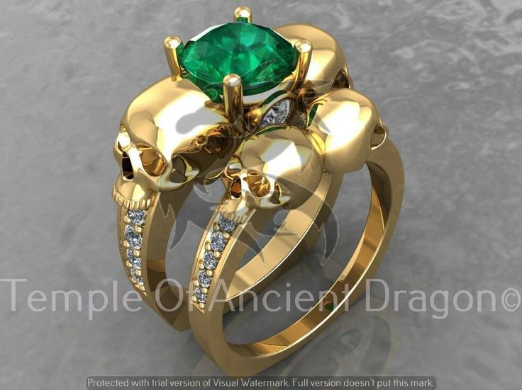 Skull Engagement Ring Set in 10 k with Genuine Diamonds and Emerald