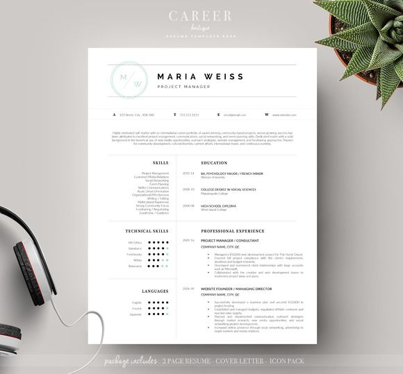 149 best Resume Templates Boutique images on Pinterest Resume - sophisticated resume templates