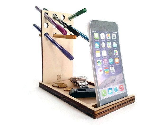Laser cut woodcell phone standdesk caddypen and pencil holderoffice desk accessoriescatchall trayiPhone dockgeek giftscool stuff (18.00 EUR) by DigitalHandmade