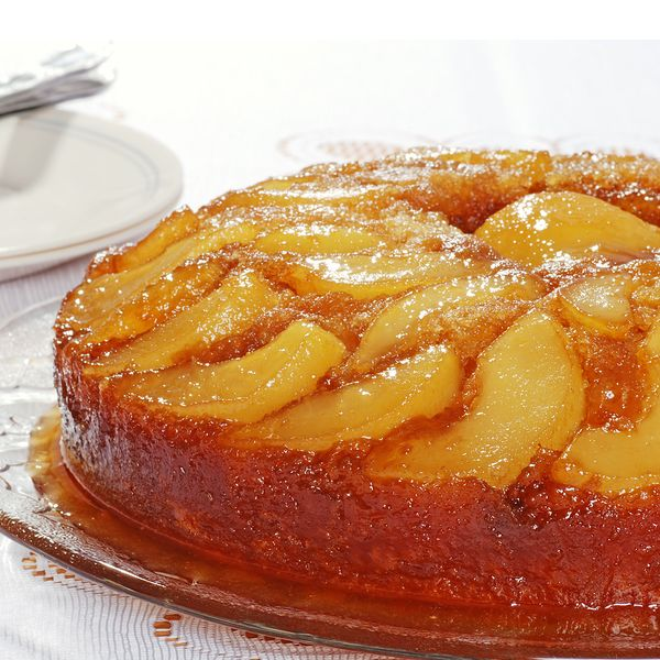 A extra delicious upside down pear cake recipe that is delicious served warm out of the oven