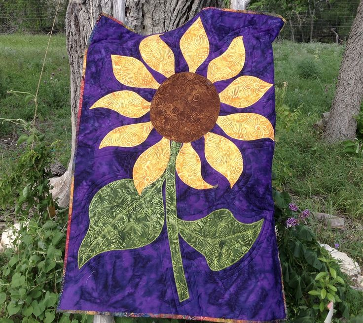 """""""A Sunflower"""" created and quilted by  Pat Hopf"""