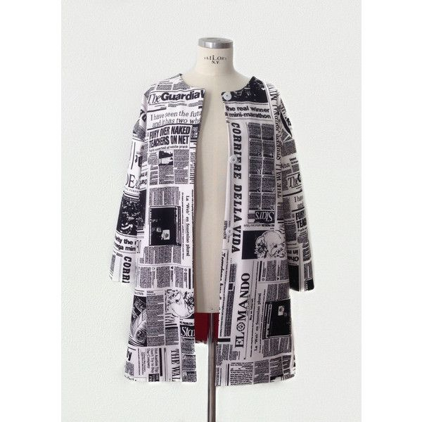 The Daily Drop Sleeve Newspaper Print Coat ($295) ❤ liked on Polyvore featuring outerwear, coats, grey, women's clothing, print coat, gray coat and grey coat