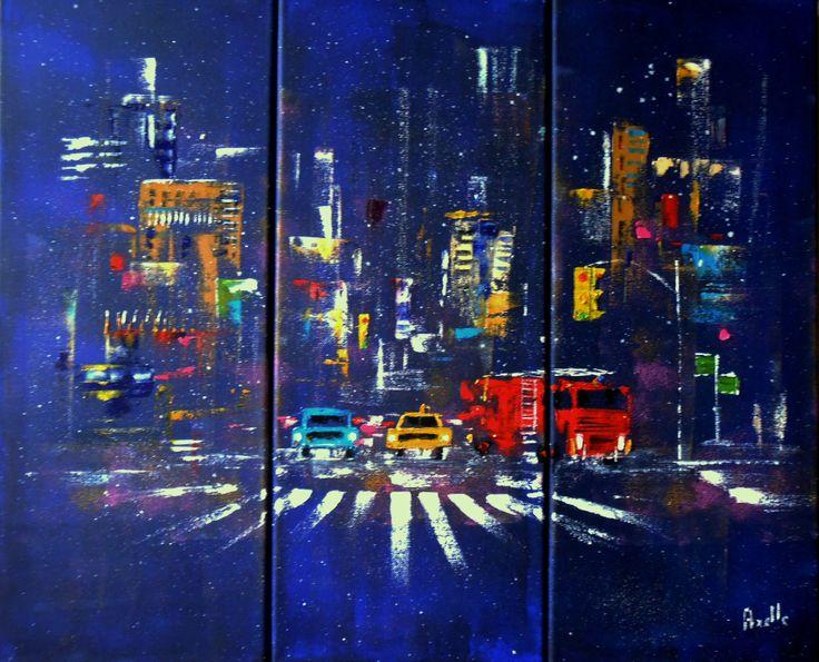 tableau new york 60 x 50 cm la nuit sous la neige triptyque peintures axelle bosler york