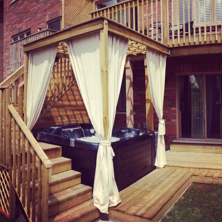 Backyard Cabanas Gazebos : Backyard hot tub cabana gazebo with curtains Tubs Cabana, Hot Tubs