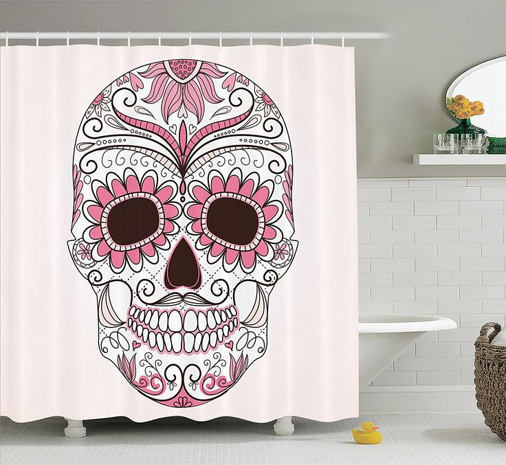 Polyester Fabric Bathroom Shower Curtain Set With Hooks My Sugar Skulls Sugarskull