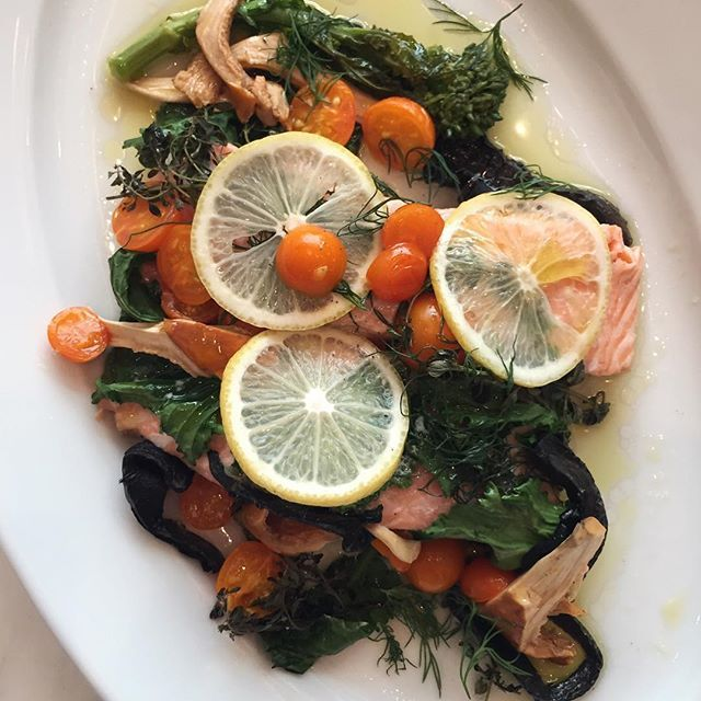 Best lunch ever, thanks to @chefmelissaking! Salmon, sungold tomatoes, broccoli rabe and chanterelles cooked in a foil packet. Tap the link in our Instagram profile to watch  her make it on our Facebook live segment from the #WSTestKitchen.