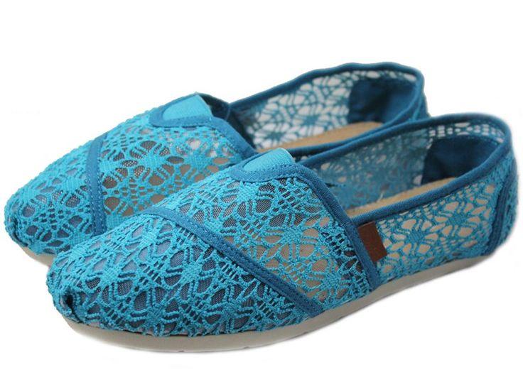 Blue 2012 Toms Hollow Lace Women Shoes