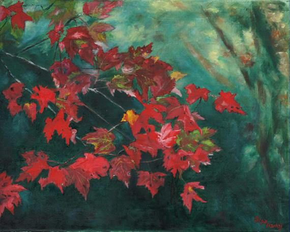 Giclee art print titled Fall Leaves Olga Harhaj